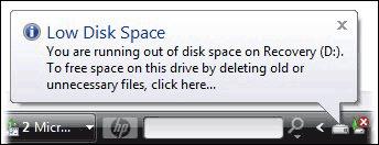 Komunikat Low Disk Space w angielskim Windows 7 i Vista