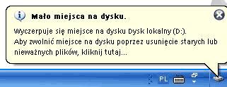 Komunikat o małej ilości miejsca na dysku w Windows 7 i Vista