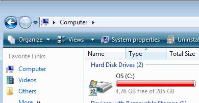 Czyszczenie dysku - Pasek adresu w Windows Vista